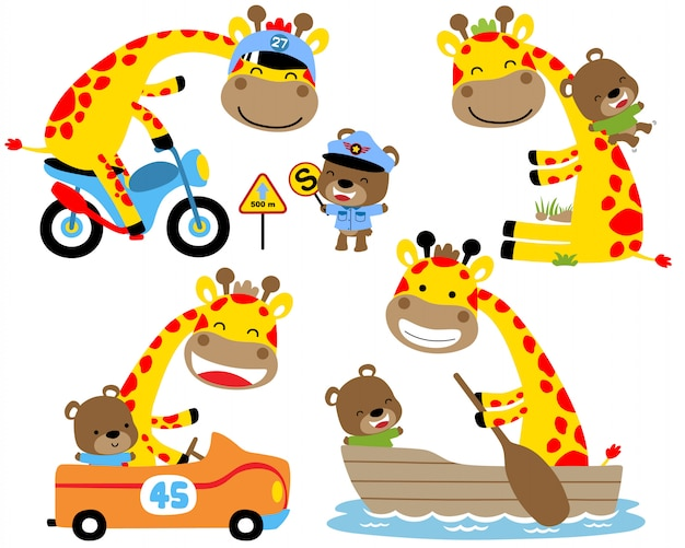 Ensemble de dessin animé de girafe jaune et petit ours