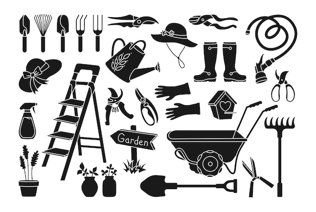 Ensemble de dessin animé de glyphe noir de travail de village de jardin
