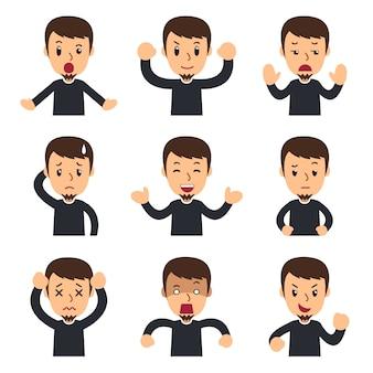 Ensemble de dessin animé de l'homme montrant différentes émotions