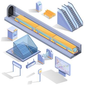 Ensemble de dessin animé d'icônes de métro isométrique, illustration vectorielle