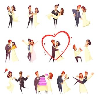 Ensemble de dessin animé de jeunes mariés
