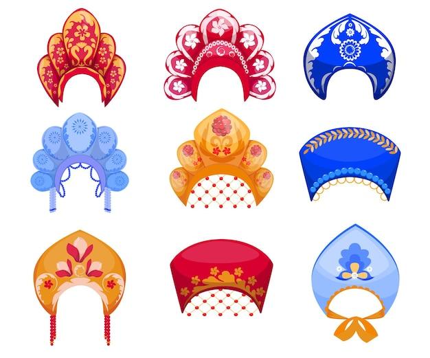 Ensemble de dessin animé de kokoshniks, coiffe de femme russe traditionnelle