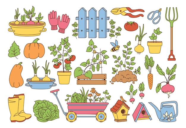 Ensemble de dessin animé de ligne de jardin. sol de plus en plus de légumes en pot clôture rustique. bottes en caoutchouc fourche et gants sécateurs. arrosoir de nichoir pour chariot de jardin