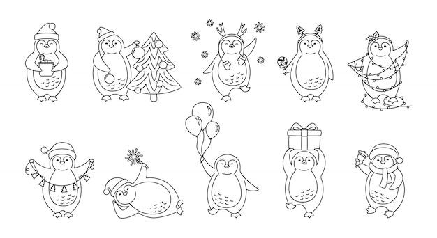 Ensemble de dessin animé linéaire de noël pingouin. jolie collection de pingouins dessinés à la main plate. ligne bonnet ou cornes de personnage heureux, arbre, guirlande, cloche de cadeau, tasse. nouvel an noël. illustration isolée