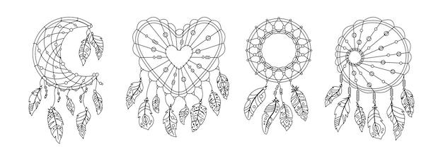Ensemble de dessin animé linéaire de plumes boho dreamcatcher