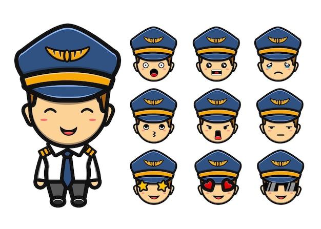 Ensemble de dessin animé de mascotte de garçon pilote mignon