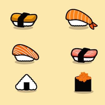 Ensemble de dessin animé de mascotte de sushi japonais
