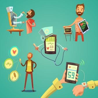 Ensemble de dessin animé de médecine