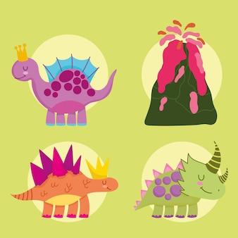 Ensemble de dessin animé mignon animaux dinos éteints et volcan
