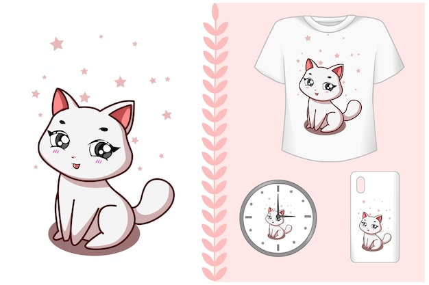 Ensemble, un dessin animé mignon chat blanc kawaii