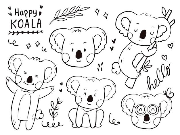 Ensemble de dessin animé mignon koala doodle pour les enfants à colorier et imprimer.