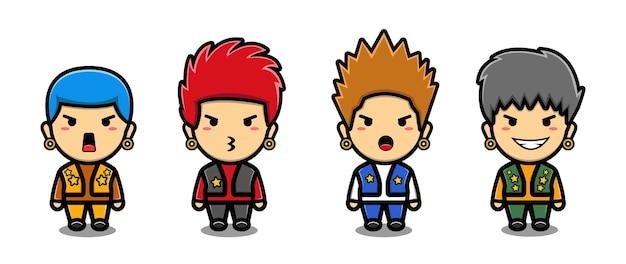 Ensemble de dessin animé mignon mascotte punk