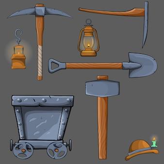 Ensemble de dessin animé minière,