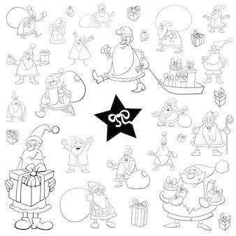 Ensemble de dessin animé de noël noir et blanc