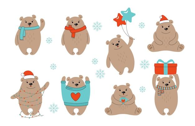 Ensemble de dessin animé de noël ours brun