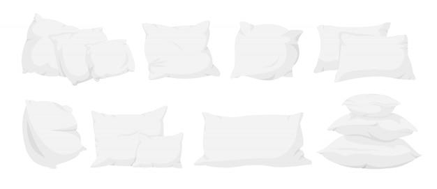 Ensemble de dessin animé d'oreiller blanc. textile d'intérieur pour la maison. oreillers pour canapé, modèle de sommeil