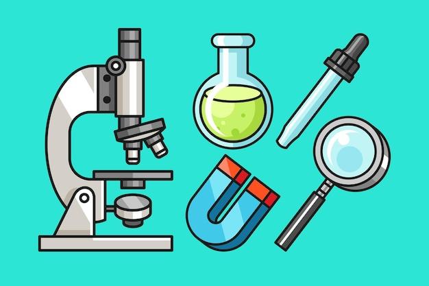 Ensemble de dessin animé d'outils de laboratoire