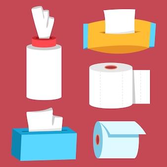 Ensemble de dessin animé de papier hygiénique et de toilette