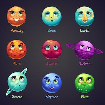 Ensemble de dessin animé, planètes drôles du système solaire
