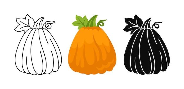 Ensemble de dessin animé plat citrouille icône de griffonnage style glyphe noir halloween jour de thanksgiving symbole du festival