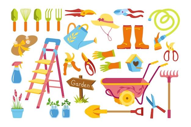 Ensemble de dessin animé plat jardin village. escabeau rustique de nichoir. râteau bottes en caoutchouc et gants pelle sécateur