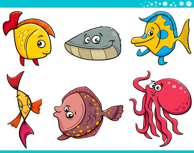 Ensemble de dessin animé poisson vie mer