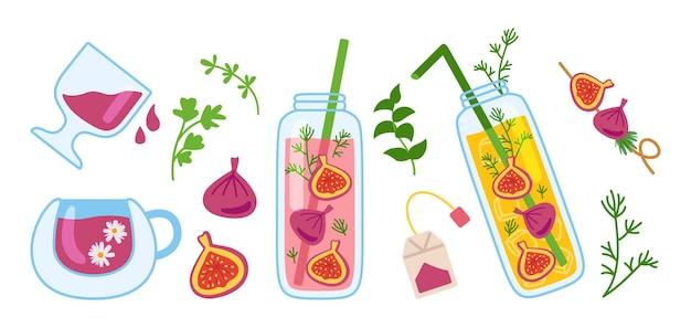 Ensemble de dessin animé de pot de bouteille d'été de cocktails d'hawaï et de jus de verre