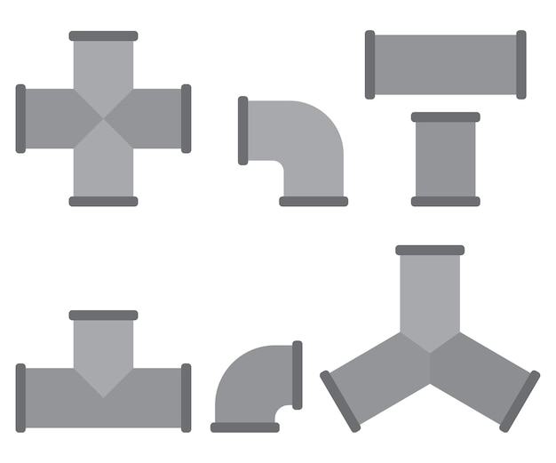 Ensemble de dessin animé de raccords de tuyauterie isolé sur fond blanc.
