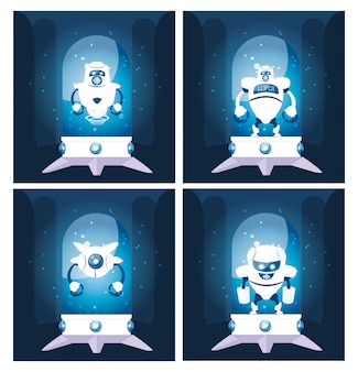 Ensemble de dessin animé de robots sur bleu