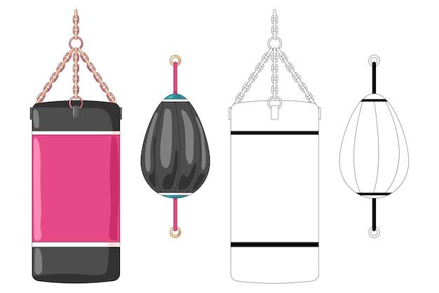 Ensemble de dessin animé de sac de boxe
