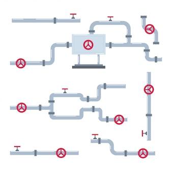 Ensemble de dessin animé de tuyau et pipeline isolé