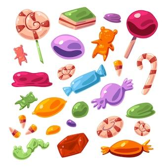 Ensemble de dessin animé de vecteur de bonbons différents isolé sur fond blanc.