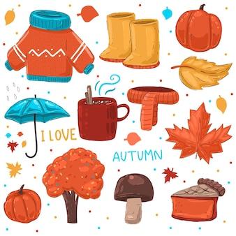 Ensemble de dessin animé de vecteur d'éléments d'automne confortable isolé sur fond blanc.