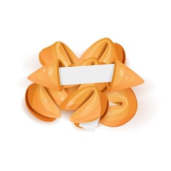 Ensemble de dessin animé de vecteur de nourriture plat biscuits chinois fortune isolé sur fond blanc photo-réaliste. biscuits de fortune avec modèle de papier vierge. biscuits de fortune chinois dans un tas. illustration vectorielle