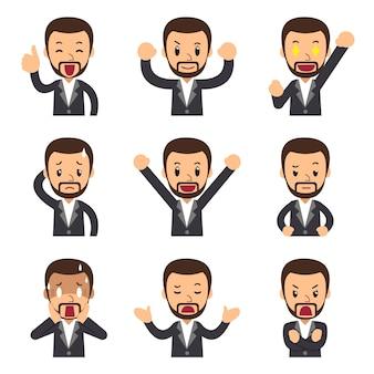 Ensemble de dessin animé de vecteur de visages d'homme d'affaires montrant différentes émotions