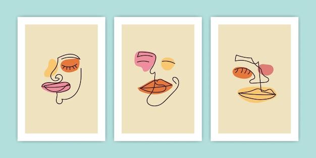 Ensemble de dessin au trait abstrait visage avec forme colorée