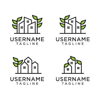 Ensemble de dessin au trait nature maison, modèle de conception de logo maison et feuille