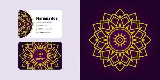 Ensemble de dessin et carte de visite mandala. marque de logo monoline