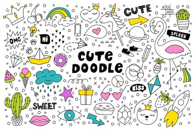 Ensemble de dessin à la main doodle mignon et coloré