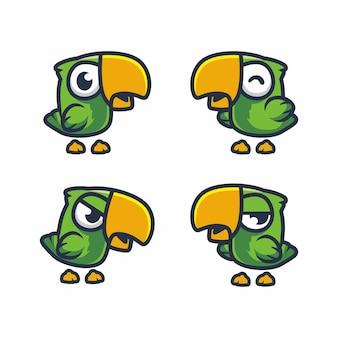Ensemble de dessin petit perroquet vert