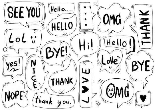 Ensemble dessiné à la main de bulle de dialogue mignon avec texte dans un style doodle
