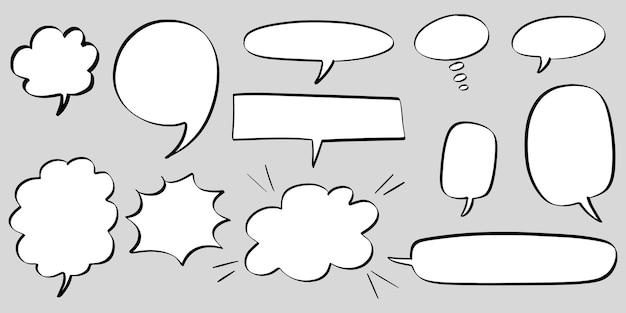Ensemble dessiné à la main de bulles isolées. élément de jeu de doodle. illustration vectorielle.