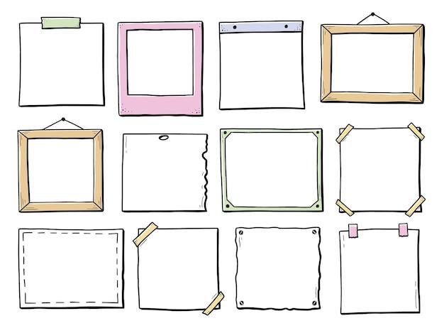 Ensemble dessiné à la main de cadre photo autocollant en papier