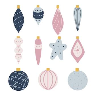 Ensemble dessiné à la main de décorations de noël jouets de noël sur l'arbre de noël