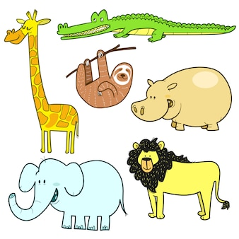 Ensemble dessiné à la main de différents animaux de la jungle