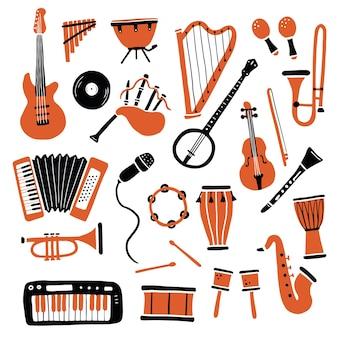 Ensemble dessiné à la main de différents types d'instruments de musique, guitare, saxophone. style de croquis de griffonnage.