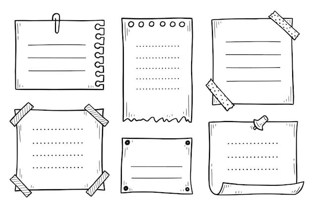Ensemble dessiné à la main de doodle collant mémo papier