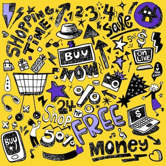 Ensemble dessiné à la main de doodles shopping avec lettrage