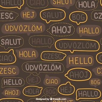 Ensemble dessiné à la main du motif de mot bonjour dans différentes langues