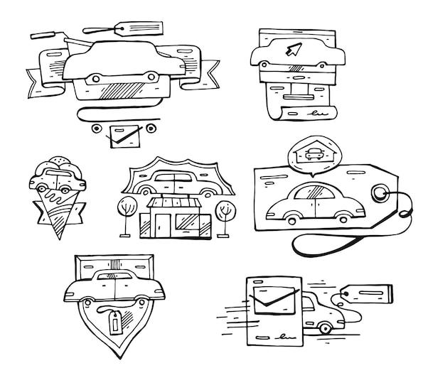 Ensemble dessiné à la main des éléments du logo de la voiture doublée, des emblèmes et des icônes.